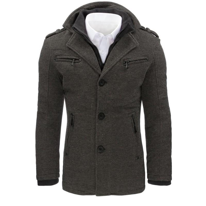 Sivé pánske zimné kabáty s vreckami - fashionday.eu 209486b968d