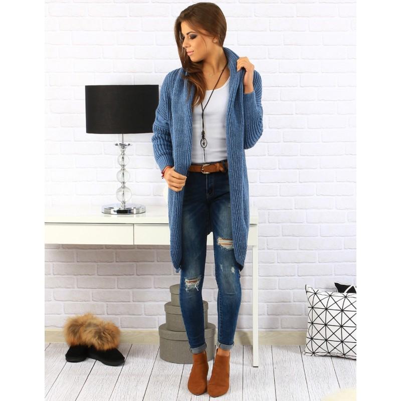 7e27560b7a83 Modré pletené kardigány pre dámy - fashionday.eu
