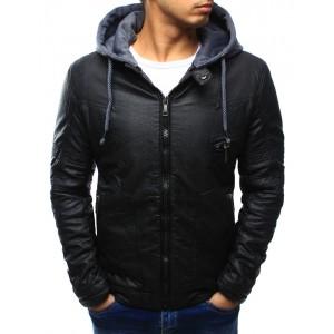 Prechodná pánska kožená bunda čiernej farby