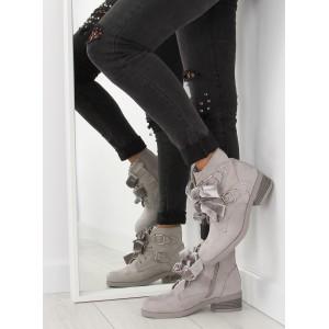 Dámske členkové topánky v sivej farbe