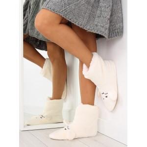 Biele dámske papuče s ušami