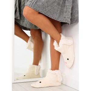 Dámske zateplené papuče v bielej farbe