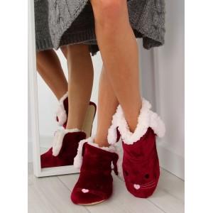 Bordové dámske zateplené papuče