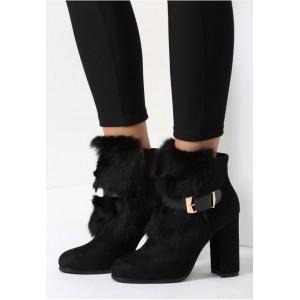Čierne dámské zimné topánky na vysokom podpätku s kožušinkou