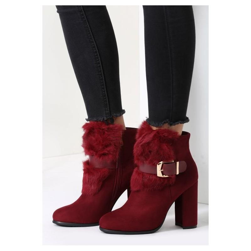 Bordové dámske zimné členkové topánky s prackou - fashionday.eu 8a0c355ded6