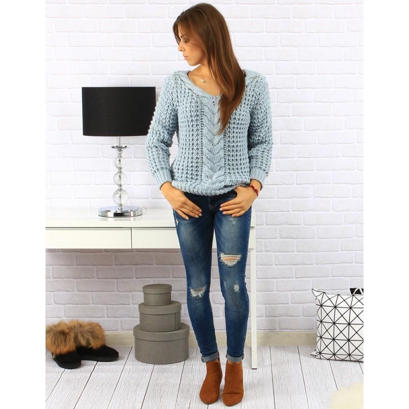 87e26d93df98 Dámske pletené svetre v modrej farbe - fashionday.eu