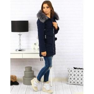 Elegantná dámska zimná bunda tmavo modrej farby s kožušinou