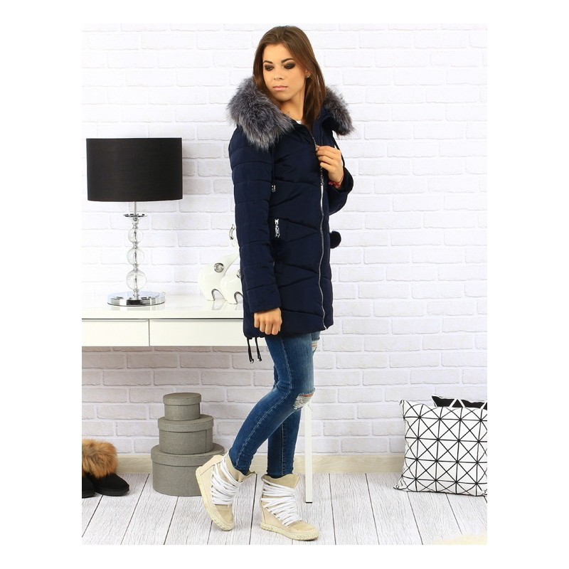 Elegantná dámska zimná bunda tmavo modrej farby s kožušinou ... 142de2d90ae