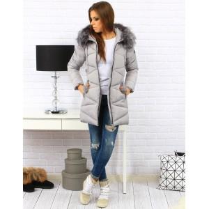 Sivé dámske prešívané bundy na zimu s kapucňou