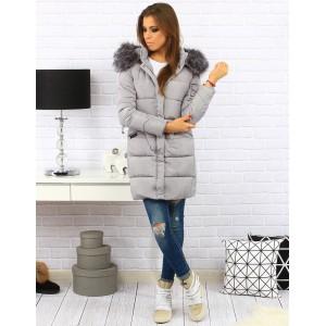 Sivá dámska prešívaná bunda na zimu s kapucňou