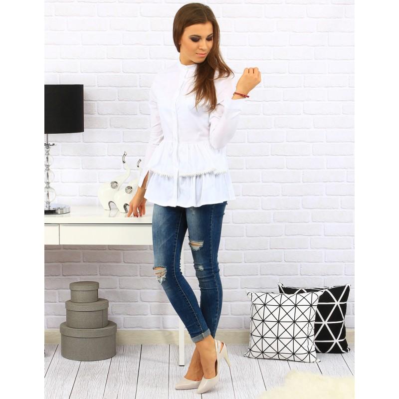 b7769c98fec7 Elegantná biela dámska košeľa s dlhým rukávom - fashionday.eu