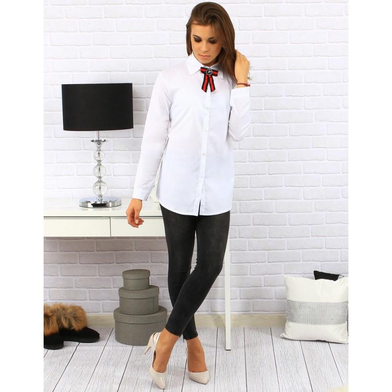 97c4a2f6a0cc Dlhá biela dámska košeľa s mašľou - fashionday.eu