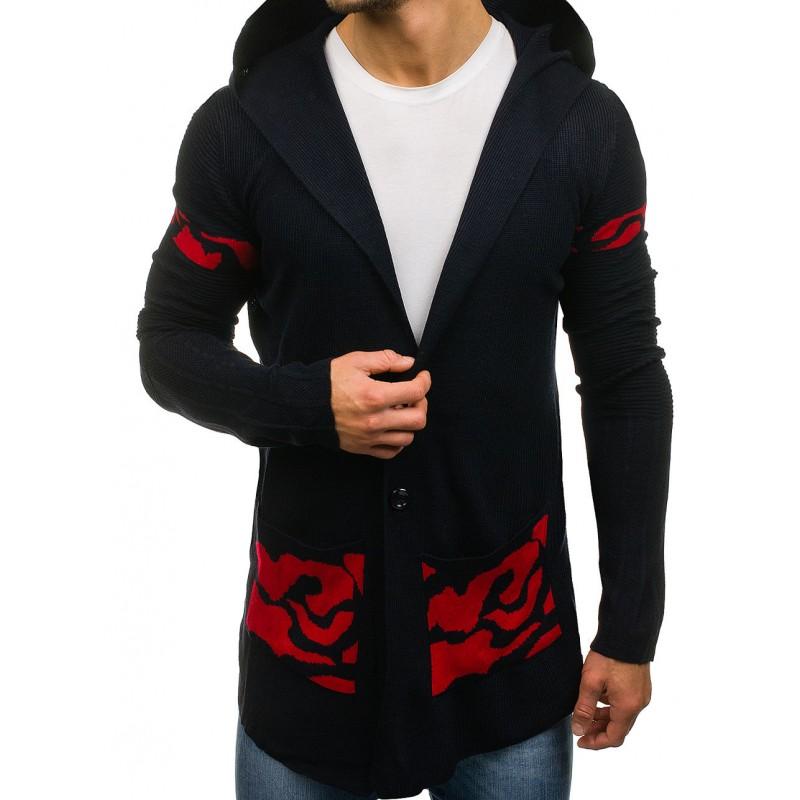 ec2030f3556c Dlhý pánsky sveter tmavo modrej farby - fashionday.eu