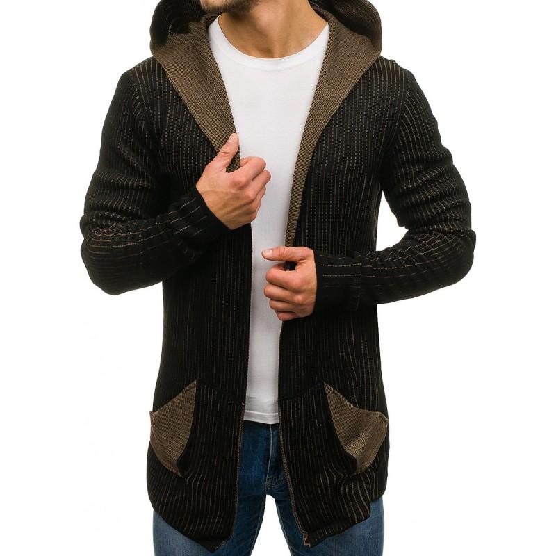 e979618e8fdd Predchádzajúci. Čierne pánske svetre s kapucňou ...