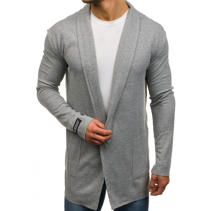 58e73d42b98f Bavlnené pánske svetre sivej farby s vreckami - fashionday.eu