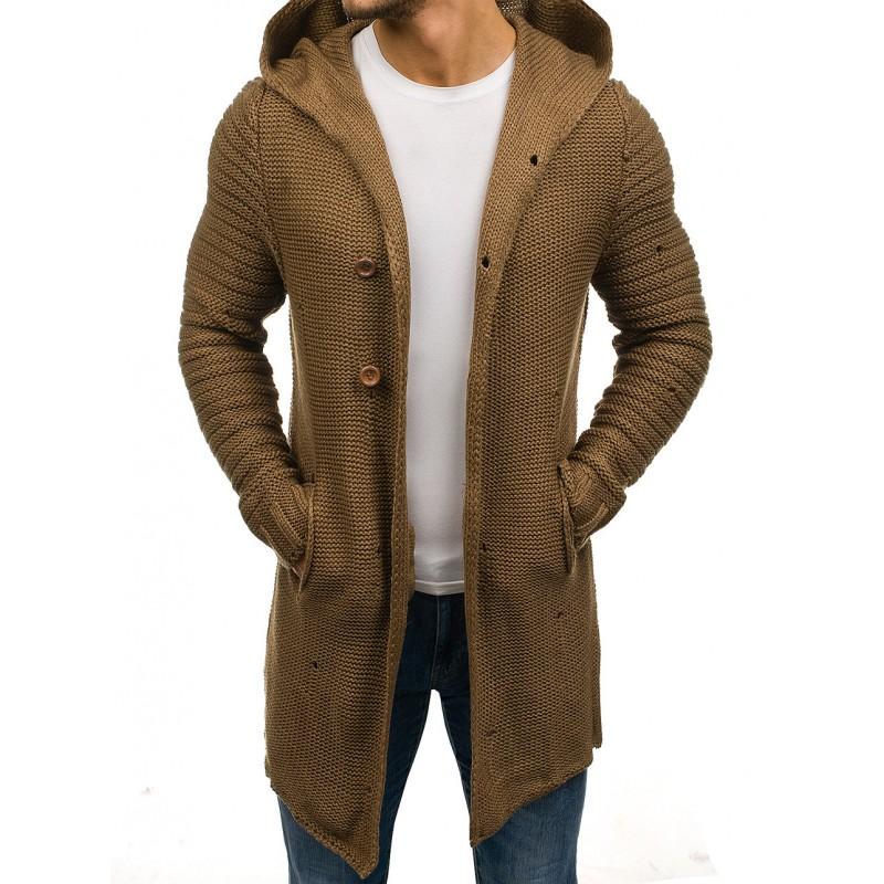 bb10572acb96 Hnedý pletený pánsky sveter s vreckami a zapínaním na gombíky ...