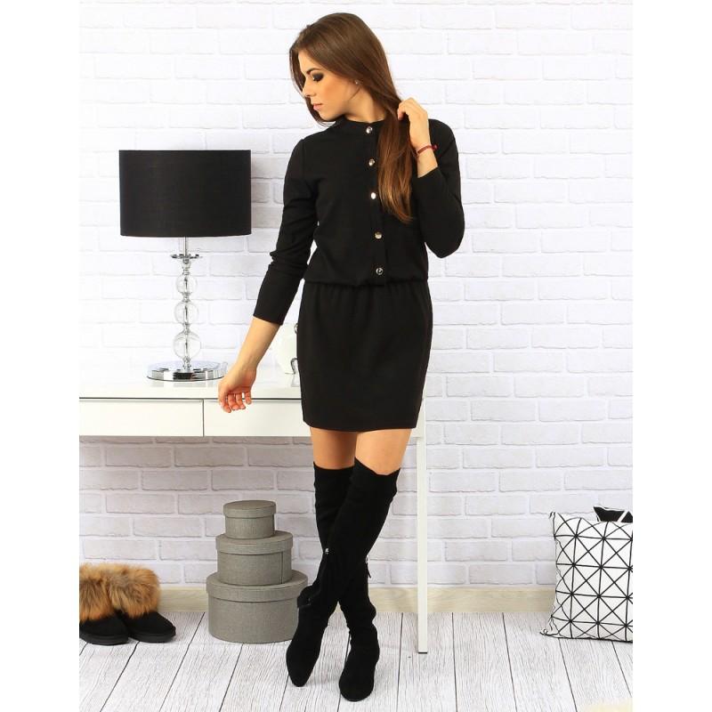 5eb67ed2ae36 Čierne dámske šaty so zlatými gombíkmi a s dlhým rukávom - fashionday.eu
