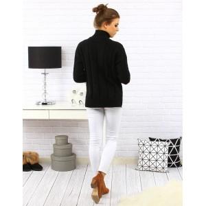 Čierny dámsky upletový sveter s predlženou zadnou stranou s rolákovým golierom