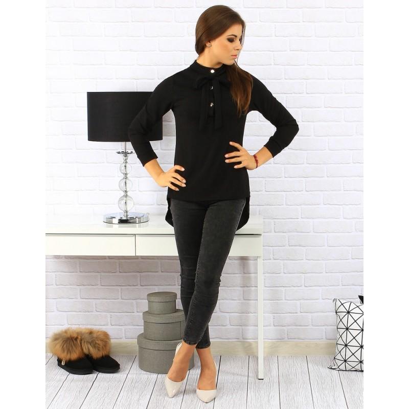 04cc7dce0d62 Elegantná čierna dámska blúzka s gombíkmi a mašľou - fashionday.eu