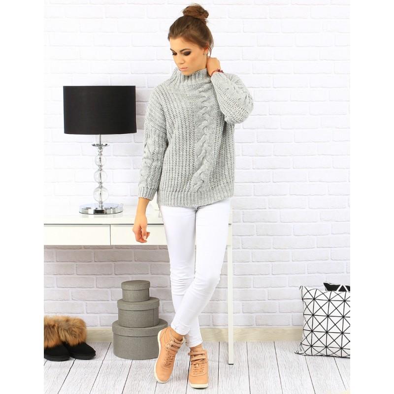 c6141f5eb3fc Sivý dámsky pletený sveter s abstraktným vzorom s rolákovým golierom ...