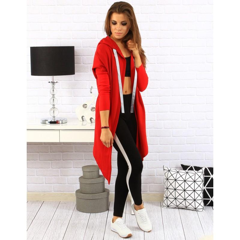 365a18f62fce Moderná dlhá dámska mikina červenej farby s kapucňou a bielymi ...