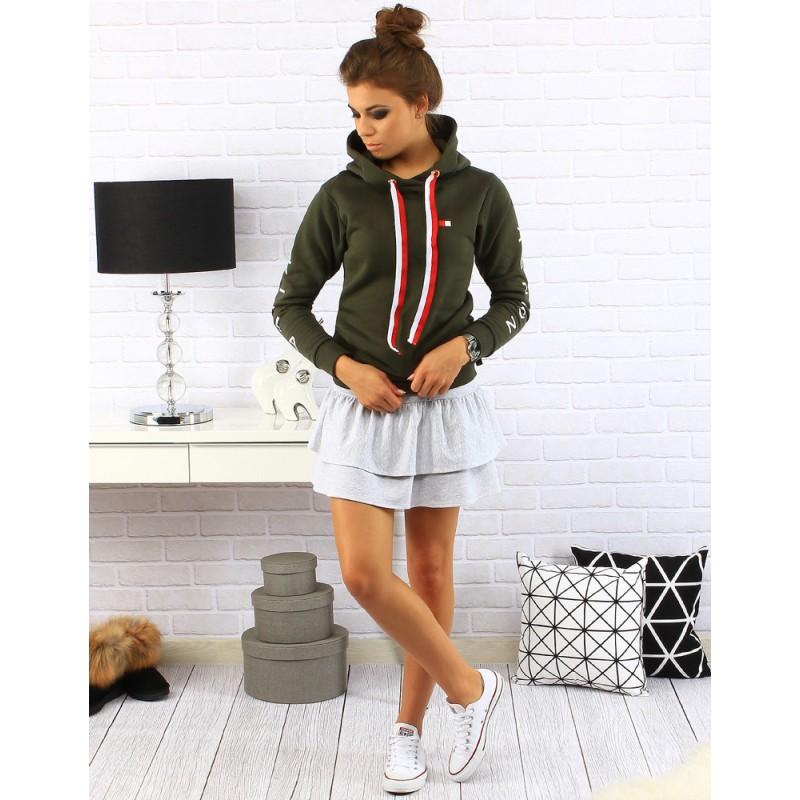 302e71761365 Športové dámske mikiny v khaki farbe s kapucňou a dlhými farebnými ...