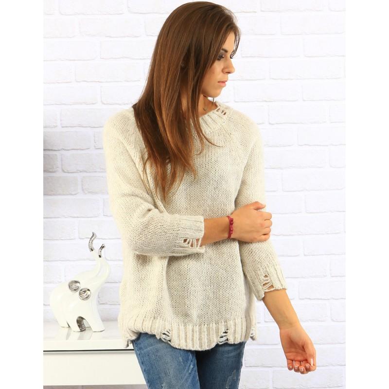 ce34f658a554 Dámske pletené predlžené svetre v béžovej farbe s trojštvrťovým ...