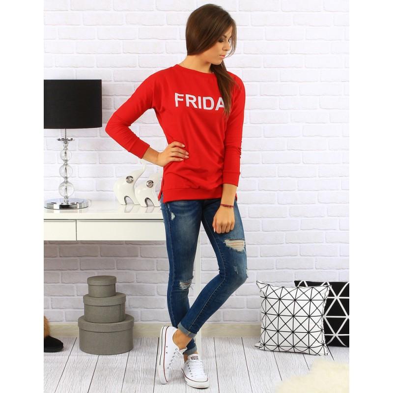 9539e0324455 Červený dámsky sveter s trojštvrťovým rukávom a nápisom Friday ...