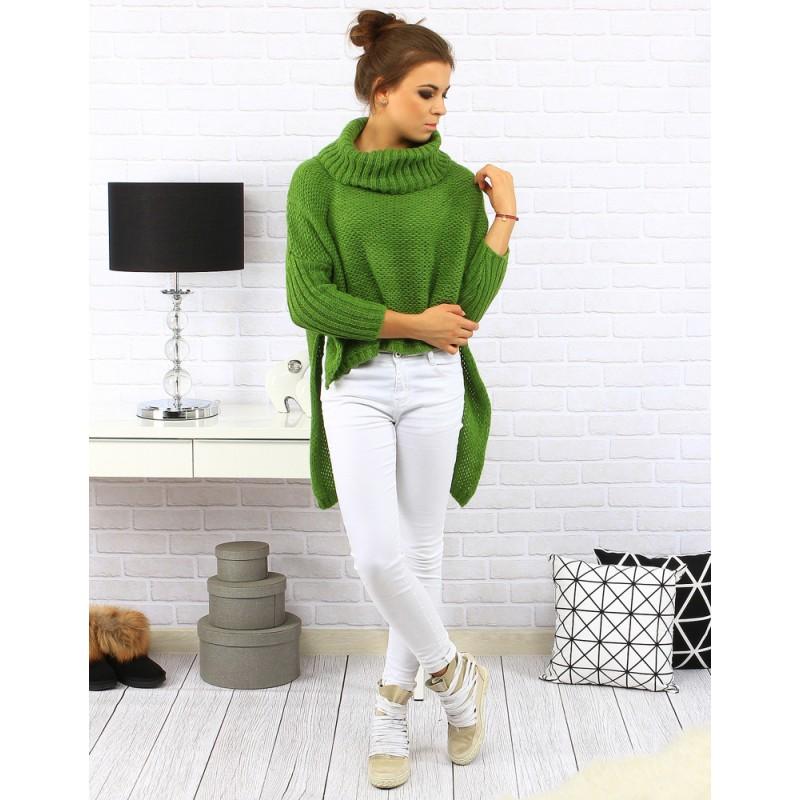 5e861ca2eeec Sýto zelený dámsky predĺžený pletený sveter - fashionday.eu