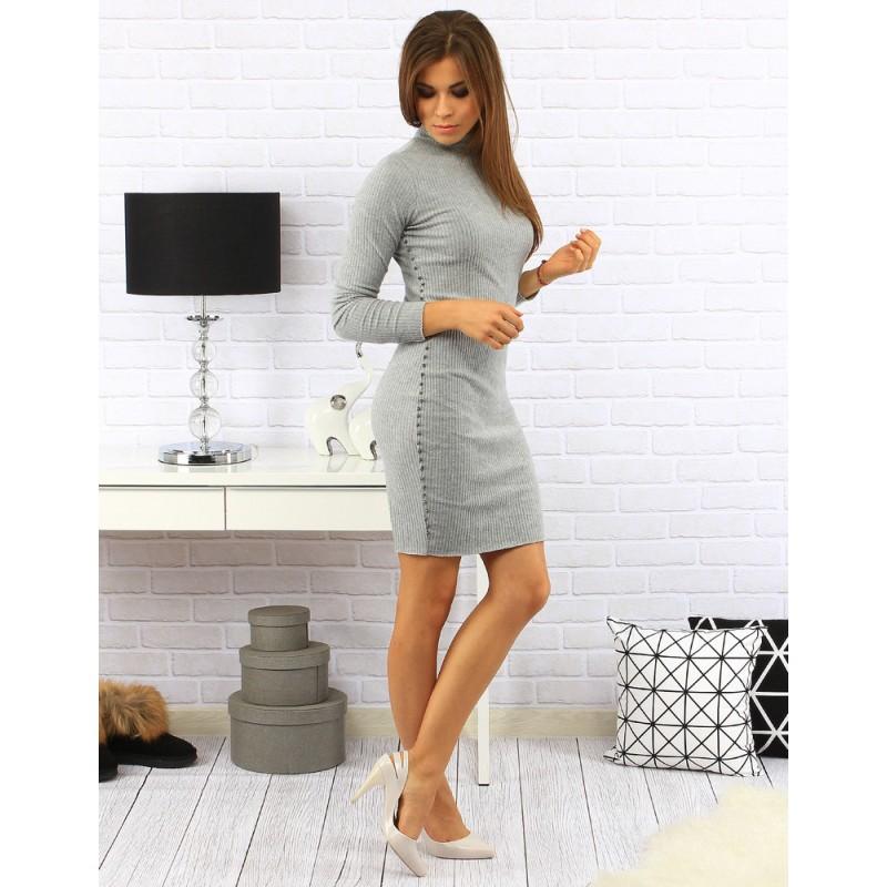 9a1d87ba2895 Elegantné dámske šaty nad kolena s vybíjaním na bokoch v sivej farbe ...
