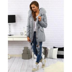 Dlhá dámska zimná bunda sivej farby s kapucňou a kožušinou