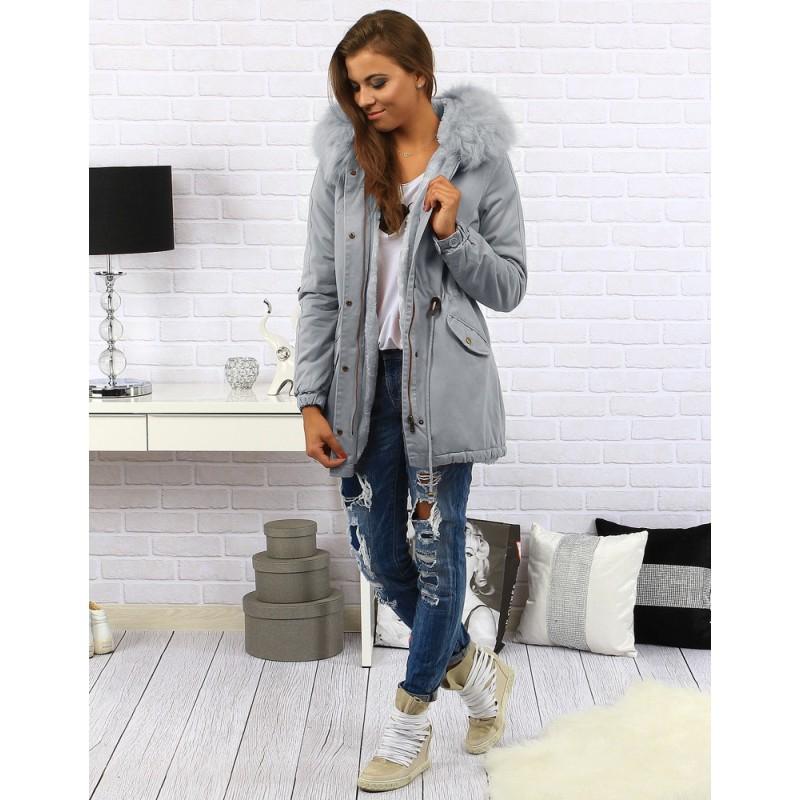 e660997ad292 Dlhá dámska zimná bunda sivej farby s kapucňou a kožušinou ...