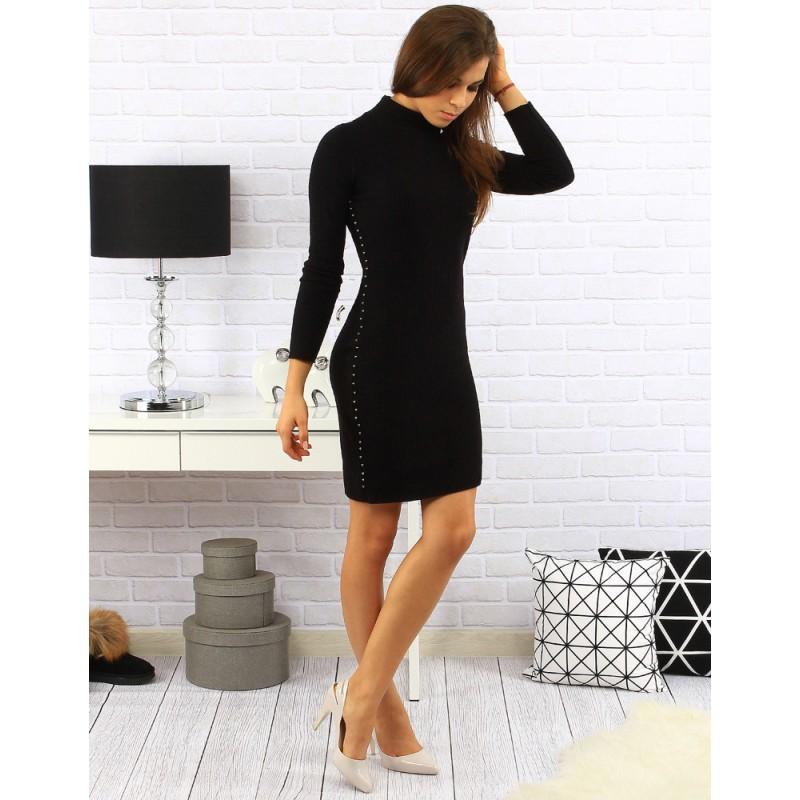 b09fdac7c664 Luxusné dámske rolákové teplé šaty v čiernej farbe nad kolena s ...