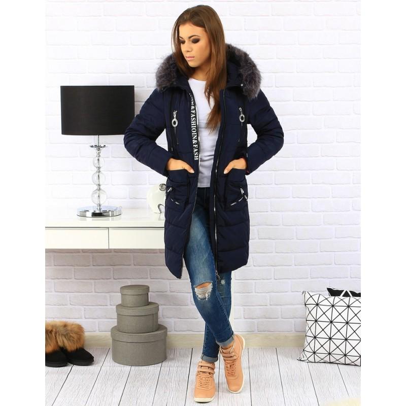 Elegantné prešívané dámske tmavo modré bundy na zimu s kožušinou ... 3cb17257755