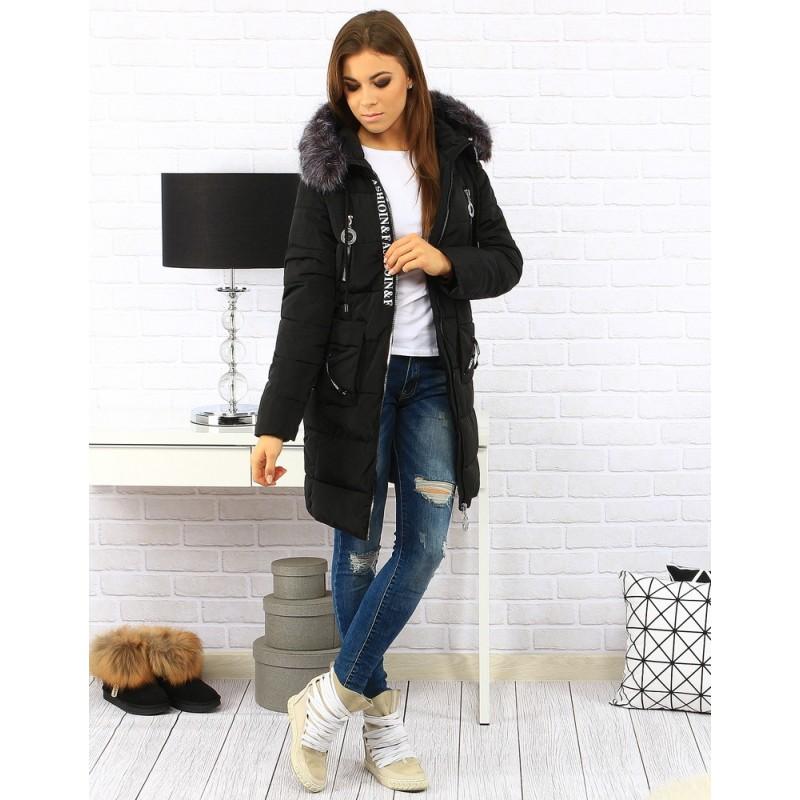 0ce979dc34 Predchádzajúci. Dlhá čierna dámska zateplená bunda na zimu s kapucňou ...