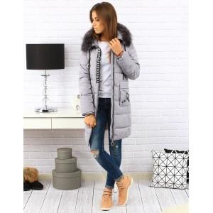 Dlhá sivá dámska prešívana bunda na zimu s kapucňou a vreckami