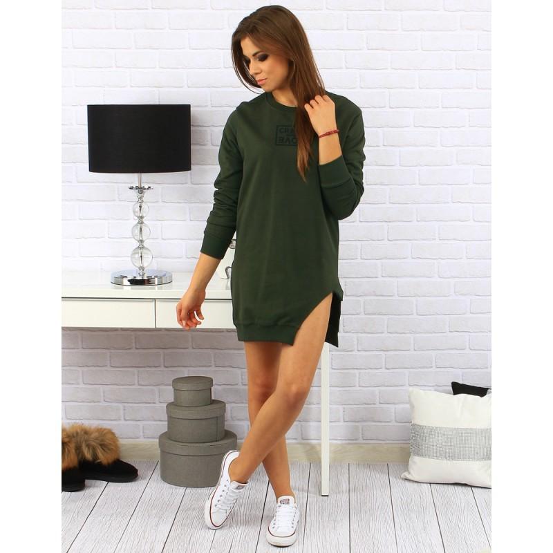 97ff62a6bfed Dámske pohodlné voľné šaty nad kolená s rázporkom na boku v zelenej ...