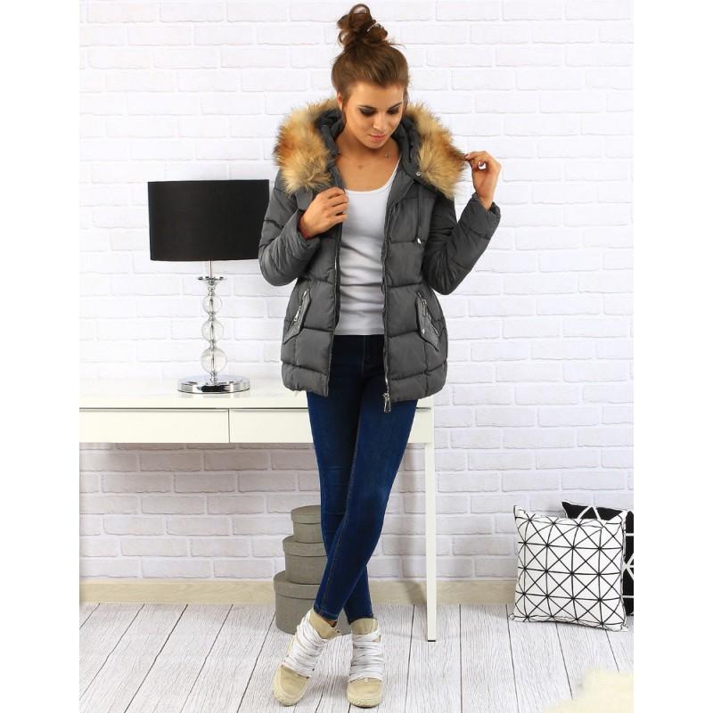 b56b1361ae10 Predchádzajúci. Zateplené dámske zimné bundy v sivej farbe s kožušinou ...