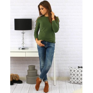 Pohodlný dámsky zelený sveter moderného strihu s dlhým rukávom
