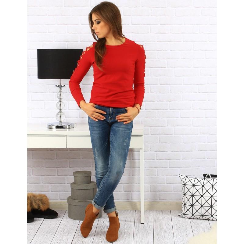 0cbc0d8fceee Jednoduché červené dámske svetre moderného strihu s dlhým rukávom ...