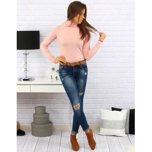 Jednofarebný dámsky pohodlný sveter ružovej farby