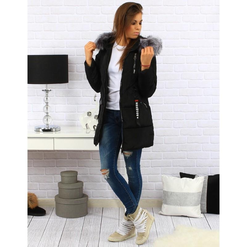 22f5d9fb4f7f Dlhá čierna dámska zimná bunda s kapucňou a sivou kožušinou ...