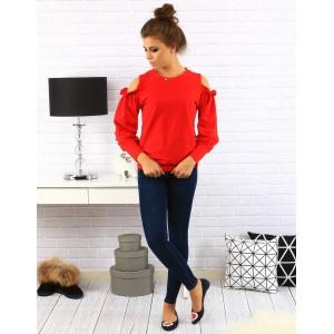 Červený dámsky sveter s ozdobami na ramenách