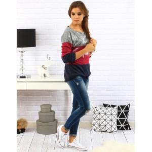 Strieborno červený dámsky sveter s dlhým rukávom a šnurovaním na chrbte