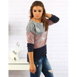 Dámsky sveter so šnúrkou na chrbte v strieborno ružovej kombinácii farieb