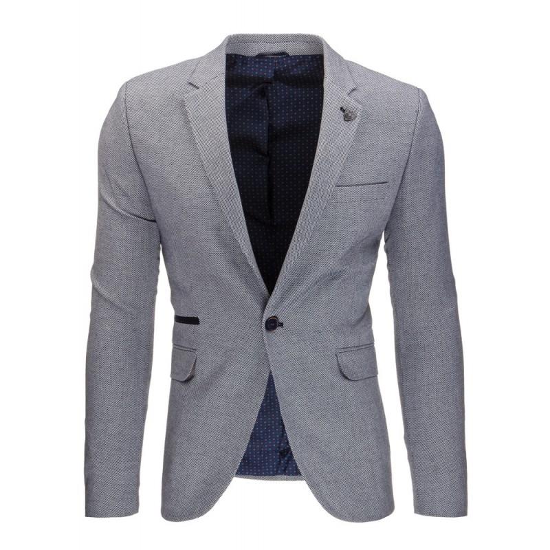 d36aaa1af3c4 Elegantné tmavo sivé pánske sako s vreckami a nášivkami na lakťoch ...