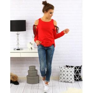 Elegantný dámsky sveter v červenej farbe s viazaním na ramenách