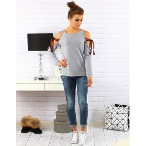 Dámsky sveter s dlhým rukávom a šnúrkami na ramenách svetlo sivej farby