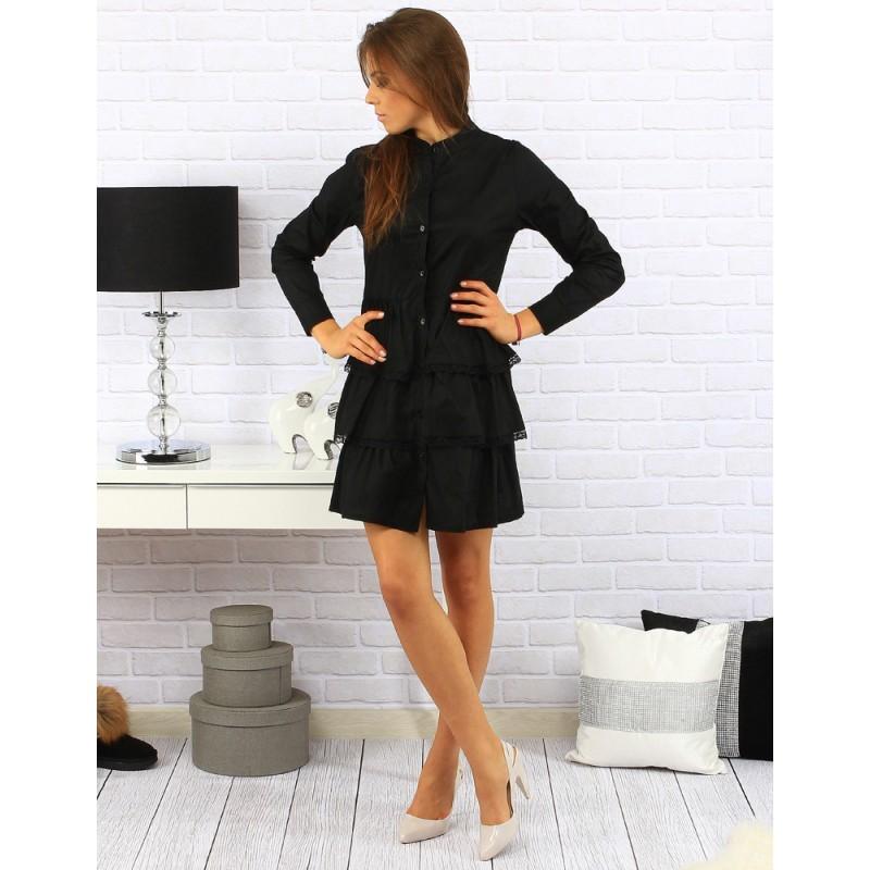 38b8b379ab9b Elegantné dámske šaty nad kolena so zapínaním na gombíky v čiernej ...