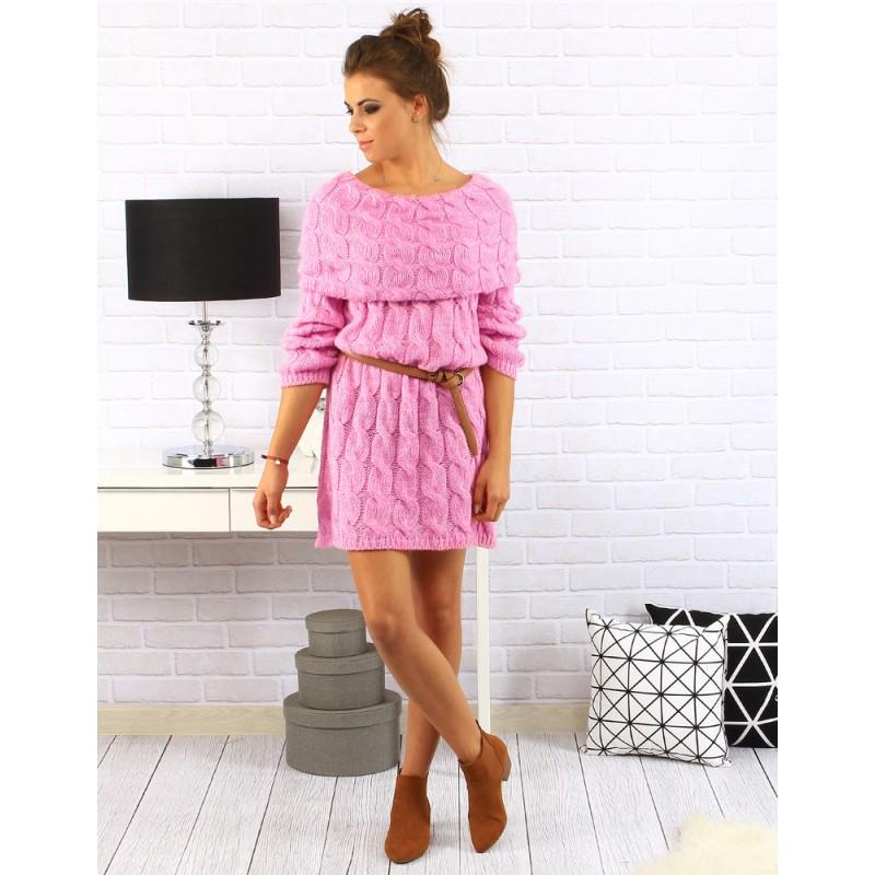 Krásne dámske kratké pletené šaty s dlhým rukávom v ružovej farbe a ... 3889316d9e0